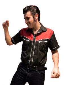 Camisa Tejuelas de manga para hombre, negra y roja