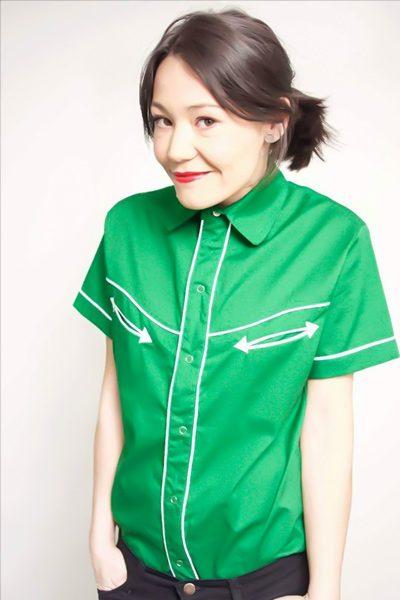 Camisa Tejuelas de manga corta verde para mujer